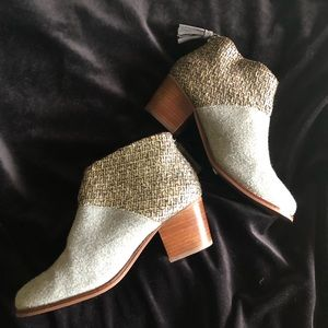 Toms | Leila Silver Tweed Gray Ankle Booties